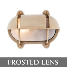 Small Oval Bulkhead with Shade - Brass/Frosted Lens