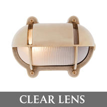 Small Oval Bulkhead with Shade - Brass/Clear Lens