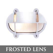 Small Oval Bulkhead with Shade - Chrome/Frosted Lens