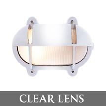 Small Oval Bulkhead with Shade - Chrome/Clear Lens