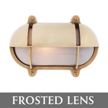 Medium Oval Bulkhead with Shade - Brass/Frosted Lens