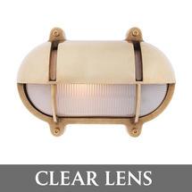 Medium Oval Bulkhead with Shade - Brass/Clear Lens