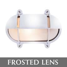 Medium Oval Bulkhead with Shade - Chrome/Frosted Lens