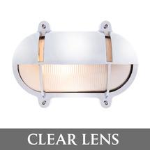Medium Oval Bulkhead with Shade - Chrome/Clear Lens