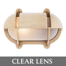 Large Oval Bulkhead with Shade - Brass/Clear Lens