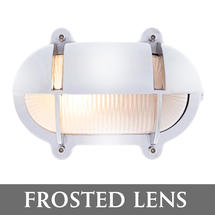 Large Oval Bulkhead with Shade - Chrome/Frosted Lens