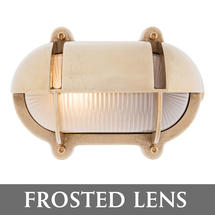 Extra Large Oval Bulkhead with Shade - Brass/Frosted Lens