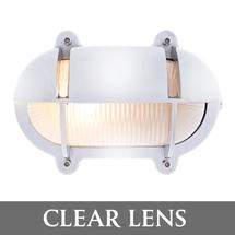 Extra Large Oval Bulkhead with Shade - Chrome/Clear Lens