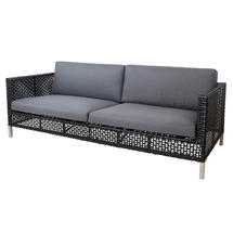 Connect 3-Seater Sofa Open Weave - Grey Cushions