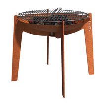 Corten Cooking Fire Bowl on Legs with Grill