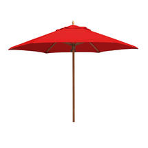 Classic Wood Framed 3.2m Round Parasols - Red