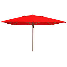Classic Wood Framed 3.6m Square Parasols - Red