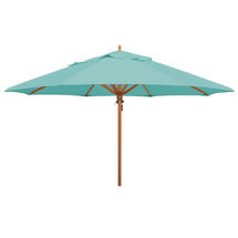 Classic Wood Framed 4.0m Round Parasol - Turquoise