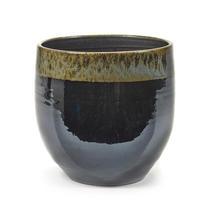 Indoor Plant Pot with Black Green Glaze - Large