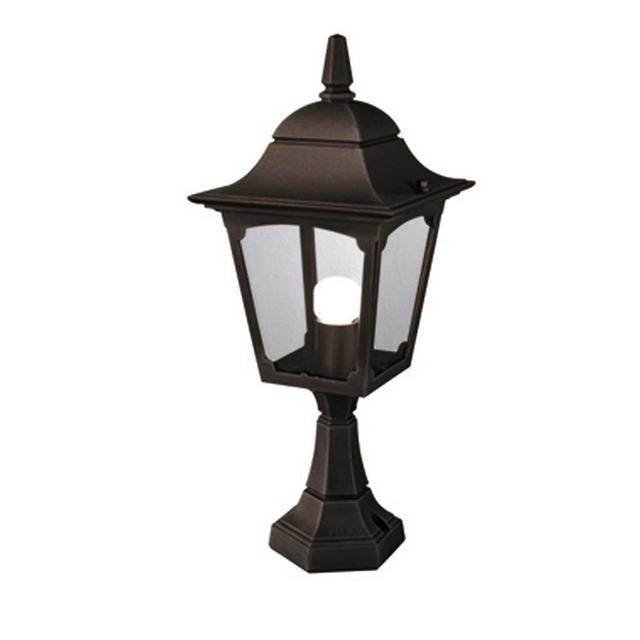 Cheltenham Cast Pedestal Lantern Light Black: Buy Chapel Outdoor Pedestal Lantern By Elstead Lighting