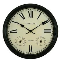 Metal Outdoor Clock -Black/Brown