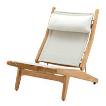 Bay Reclining Chair Buffed Teak - Seagull Sling with Quartz Headrest