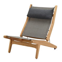 Bay Reclining Chair Buffed Teak - Granite Sling with Soot Headrest