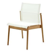 Sway Buffed Teak Stacking Chair - White/White
