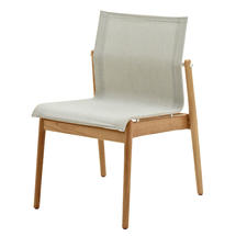 Sway Buffed Teak Stacking Chair - White/Seagull