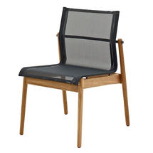 Sway Buffed Teak Stacking Chair - Meteor/Grey