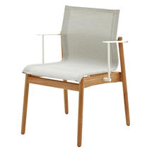 Sway Buffed Teak Stacking Armchair - White/Seagull
