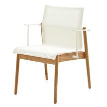 Sway Buffed Teak Stacking Armchair - White/White