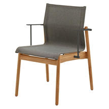 Sway Buffed Teak Stacking Armchair - Meteor/Granite
