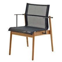 Sway Buffed Teak Stacking Armchair - Meteor/Grey