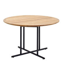 Whirl Meteor 120cm Round Table - Buffed Teak Top