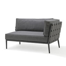 Conic Soft Touch 2 Seater Sofa Left Unit - Grey