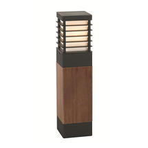Halmstad Medium Wooden Bollard Lantern - Black
