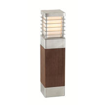 Halmstad Medium Wooden Bollard Light - Galvanised