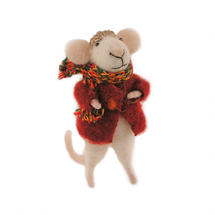Felt Mouse with Red Winter Coat