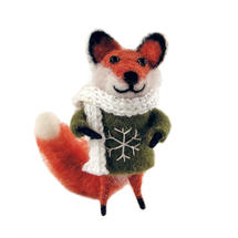 Felt Fox with Green Jumper