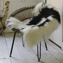 Longhair Sheepskin - White and Brown Spotted