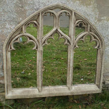Gothic Triple Arch Over Mantle Garden Mirror