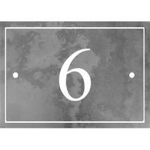 Smooth Black Slate 1 Digit House Number with Border