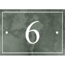 Smooth Green Slate 1 Digit House Number with Border