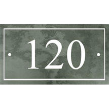 Smooth Green Slate 3 Digit House Number with Border