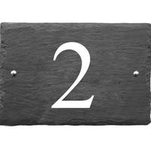 Rustic Slate 1 Digit House Number with White Infill