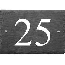 Rustic Slate 2 Digit House Number with White Infill