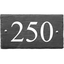 Rustic Slate 3 Digit House Number with White Infill