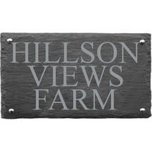 Rusic Slate Three Line House Sign - Size 3