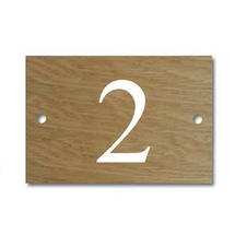 Solid Oak 1 Digit House Number