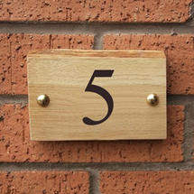 Rustic Oak 1 Digit House Number